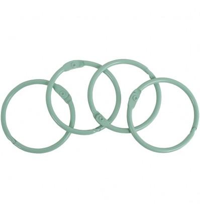 Set de 4 Anillas Metalicas 35 mm. Verde Mint