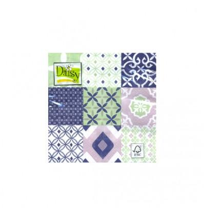 Servilleta Azulejos Verdes y Azules 33x33