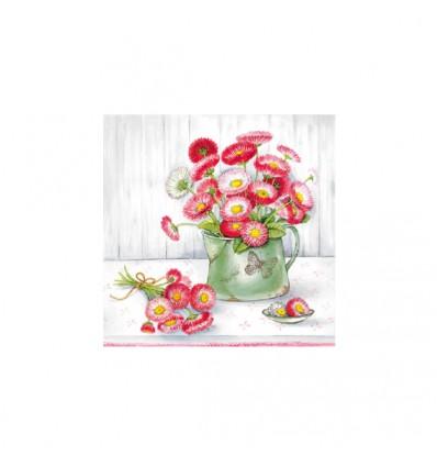 Servilleta Jarra verde con flores rosas 33x33